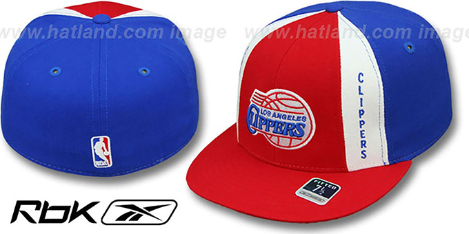 Clippers 'AJD THROWBACK PINWHEEL' Red-Royal Fitted Hat by Reebok : pictured without stickers that these products are shipped with