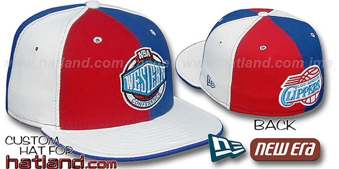 Clippers CONFERENCE 'PINWHEEL' Red-Royal-White Fitted Hat : pictured without stickers that these products are shipped with