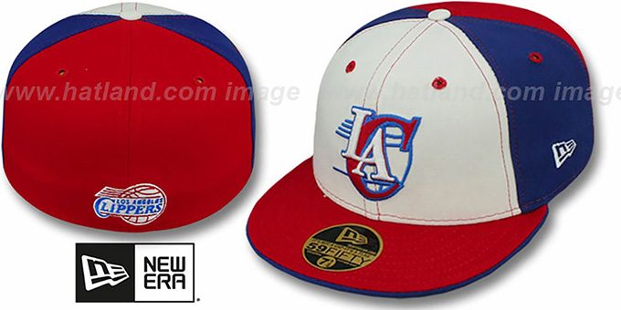 Clippers 'DECEPTOR PINWHEEL' White-Royal-Red Fitted Hat : pictured without stickers that these products are shipped with