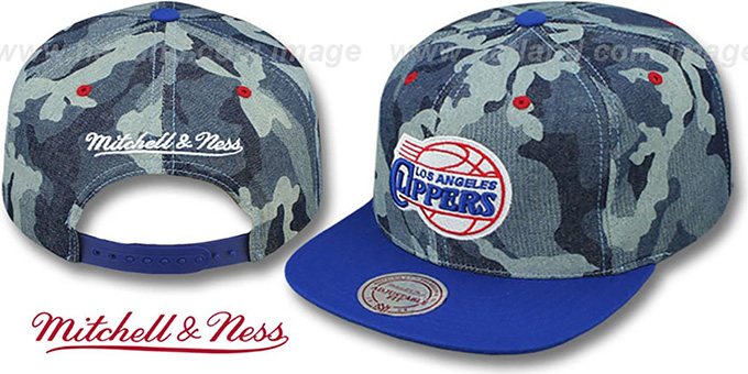 Clippers 'DENIM-CAMO SNAPBACK' Blue Hat by Mitchell and Ness : pictured without stickers that these products are shipped with