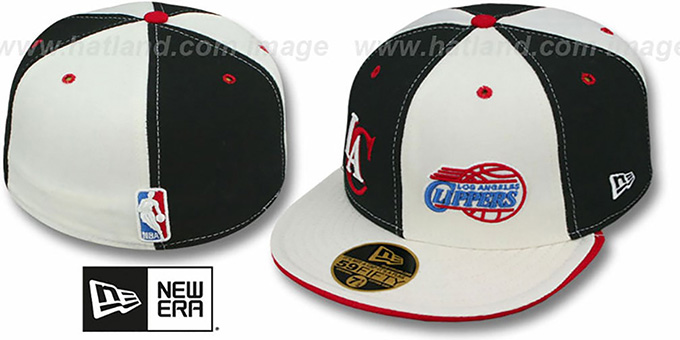 Clippers 'DOUBLE WHAMMY' Black-White Fitted Hat : pictured without stickers that these products are shipped with