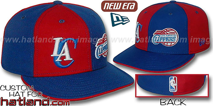 Clippers 'DOUBLE WHAMMY' Red-Royal Fitted Hat : pictured without stickers that these products are shipped with