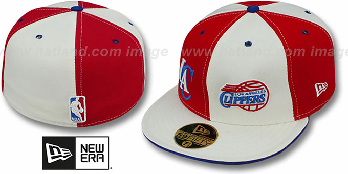 Clippers 'DOUBLE WHAMMY' Red-White Fitted Hat : pictured without stickers that these products are shipped with