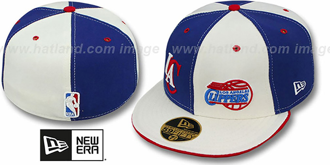 Clippers 'DOUBLE WHAMMY' Royal-White Fitted Hat : pictured without stickers that these products are shipped with