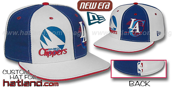 Clippers 'DW THEN and NOW' White-Royal Fitted Hat : pictured without stickers that these products are shipped with