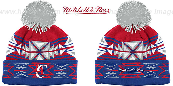 Clippers 'GEOTECH' Knit Beanie by Mitchell and Ness : pictured without stickers that these products are shipped with