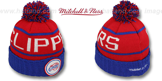 Clippers 'HIGH-5 CIRCLE BEANIE' Red-Royal by Mitchell and Ness : pictured without stickers that these products are shipped with