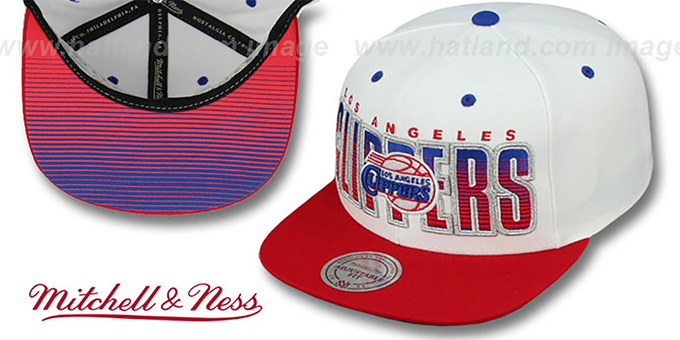 Clippers 'HOMESTAND SNAPBACK' White-Red Hat by Mitchell & Ness : pictured without stickers that these products are shipped with