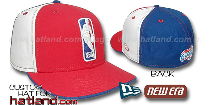 Clippers 'LOGOMAN' Red-White-Royal Fitted Hat by New Era : pictured without stickers that these products are shipped with