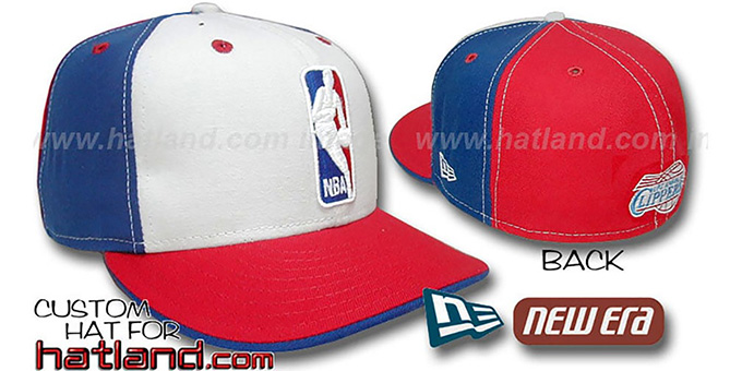 Clippers 'LOGOMAN' White-Royal-Red Fitted Hat by New Era : pictured without stickers that these products are shipped with