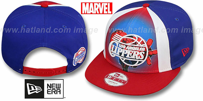 Clippers 'MARVEL RETRO-SLICE SNAPBACK' Royal-Red Hat by New Era : pictured without stickers that these products are shipped with