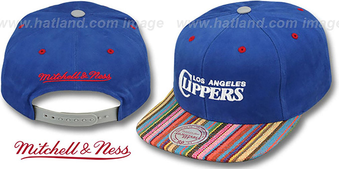 Clippers 'NATIVE-STRIPE SNAPBACK' Royal Hat by Mitchell & Ness : pictured without stickers that these products are shipped with