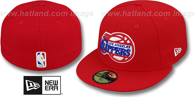 Clippers 'NBA-CHASE' Red Fitted Hat by New Era : pictured without stickers that these products are shipped with