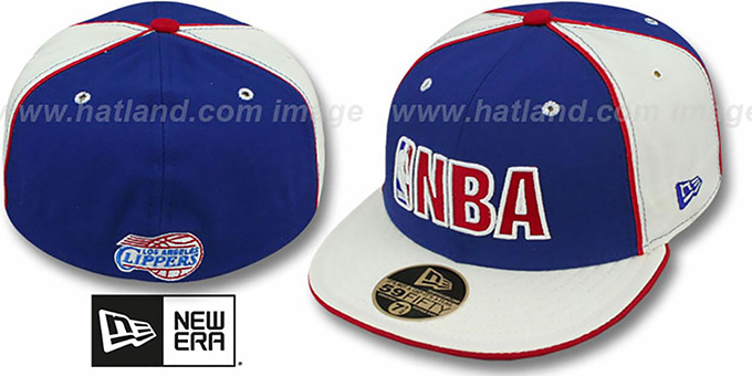 Clippers 'NBA PINWHEEL 2' Royal-White Fitted Hat by New Era : pictured without stickers that these products are shipped with