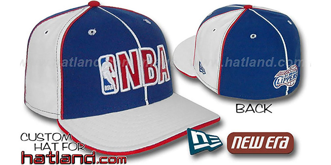 Clippers NBA 'PINWHEEL-3' Royal-White Fitted Hat by New Era : pictured without stickers that these products are shipped with
