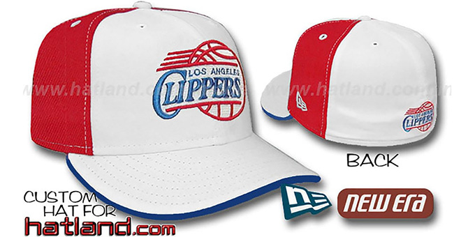Clippers 'PINWHEEL' White-Red Fitted Hat by New Era : pictured without stickers that these products are shipped with