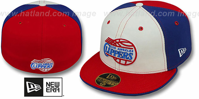 Clippers 'PINWHEEL' White-Royal-Red Fitted Hat by New Era : pictured without stickers that these products are shipped with