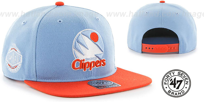 Clippers 'SURE-SHOT SNAPBACK' Sky-Orange Hat by Twins 47 Brand : pictured without stickers that these products are shipped with