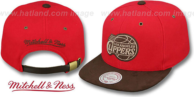 Clippers 'TC-BROWN SUEDE STRAPBACK' Hat Mitchell & Ness : pictured without stickers that these products are shipped with
