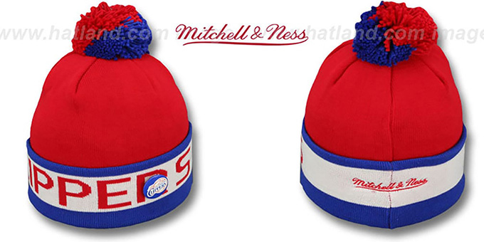 ca84e1d3a2a Los Angeles Clippers THE-BUTTON Knit Beanie Hat by Michell   Ness