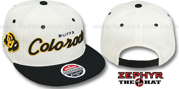 Colorado '2T HEADLINER SNAPBACK' White-Black Hat by Zephyr : pictured without stickers that these products are shipped with