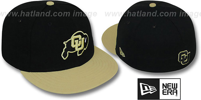 Colorado '2T NCAA-BASIC' Black-Gold Fitted Hat by New Era : pictured without stickers that these products are shipped with