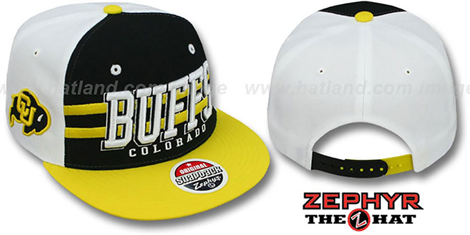 Colorado '2T SUPERSONIC SNAPBACK' Black-Gold Hat by Zephyr : pictured without stickers that these products are shipped with