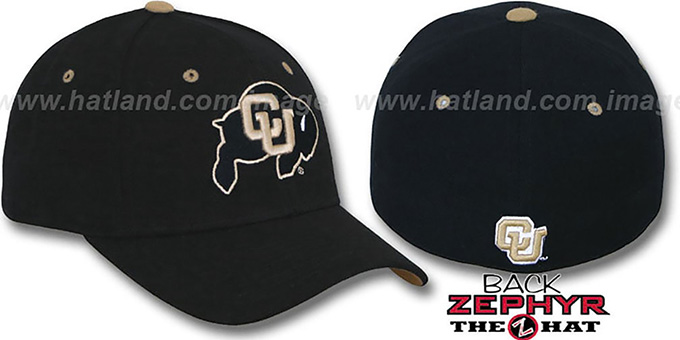 Colorado 'DHS' Fitted Hat by Zephyr - black : pictured without stickers that these products are shipped with