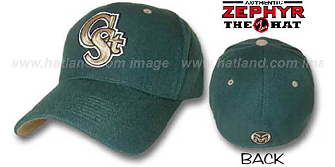 Colorado State 'DH' Fitted Hat by ZEPHYR - dark green : pictured without stickers that these products are shipped with