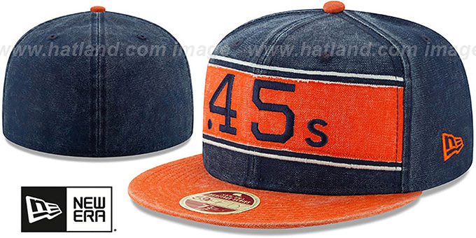 Colt .45s 'COOPERSTOWN HERITAGE BAND' Navy-Orange Fitted Hat by New Era