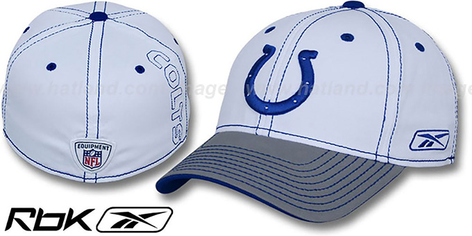 Colts '2008-09 SIDELINE-2 FLEX' White-Grey Hat by Reebok : pictured without stickers that these products are shipped with
