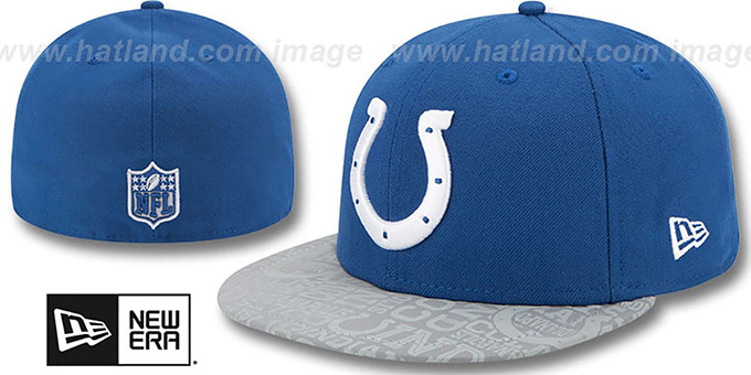 Colts '2014 NFL DRAFT' Royal Fitted Hat by New Era : pictured without stickers that these products are shipped with