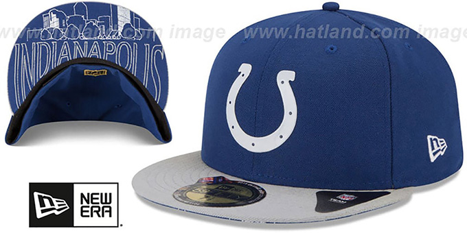 Colts '2015 NFL DRAFT' Royal-Grey Fitted Hat by New Era : pictured without stickers that these products are shipped with