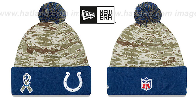 Colts '2015 SALUTE-TO-SERVICE' Knit Beanie Hat by New Era : pictured without stickers that these products are shipped with