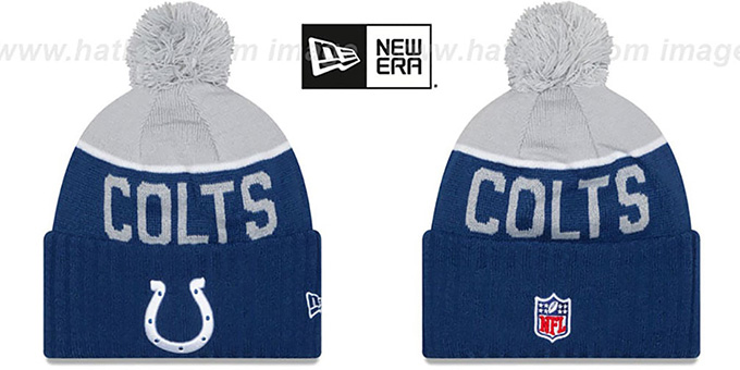Colts '2015 STADIUM' Royal-Grey Knit Beanie Hat by New Era : pictured without stickers that these products are shipped with