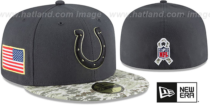 Colts '2016 SALUTE-TO-SERVICE' Grey-Desert Fitted Hat by New Era : pictured without stickers that these products are shipped with
