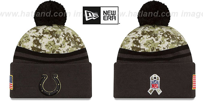 Colts '2016 SALUTE-TO-SERVICE' Knit Beanie Hat by New Era : pictured without stickers that these products are shipped with