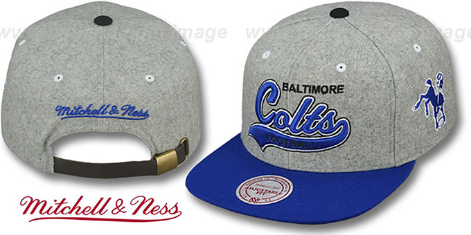 Colts '2T TAILSWEEPER STRAPBACK' Grey-Royal Hat by Mitchell & Ness : pictured without stickers that these products are shipped with