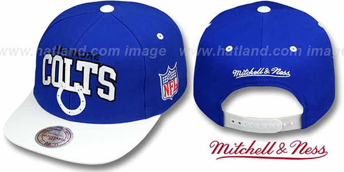 Colts '2T TEAM ARCH SNAPBACK' Adjustable Hat by Mitchell & Ness : pictured without stickers that these products are shipped with