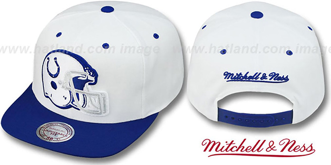 Colts '2T XL-HELMET SNAPBACK' White-Royal Adjustable Hat by Mitchell & Ness : pictured without stickers that these products are shipped with