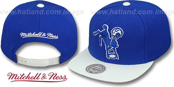Colts '2T XL-LOGO SNAPBACK' Royal-White Adjustable Hat by Mitchell & Ness : pictured without stickers that these products are shipped with