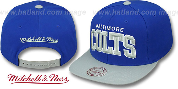 Colts 'BLOCK-ARCH SNAPBACK' Royal-Grey Hat by Mitchell and Ness : pictured without stickers that these products are shipped with