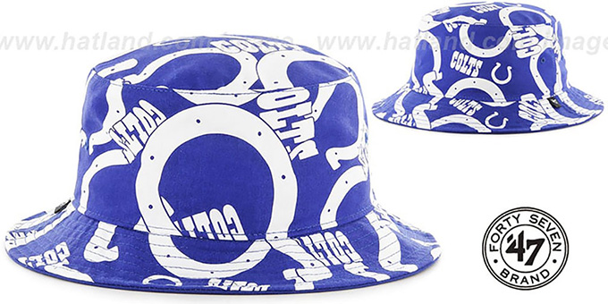 Colts 'BRAVADO BUCKET' Hat by Twins 47 Brand : pictured without stickers that these products are shipped with