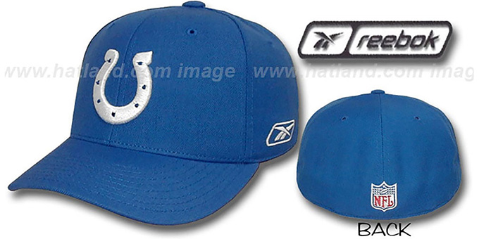 Colts 'COACHES' Fitted Hat by Reebok - royal : pictured without stickers that these products are shipped with