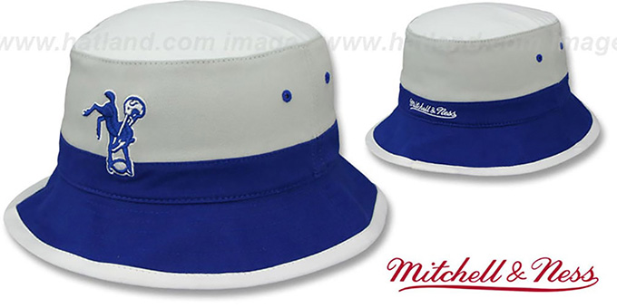 Colts 'COLOR-BLOCK BUCKET' White-Grey-Royal Hat by Mitchell and Ness : pictured without stickers that these products are shipped with