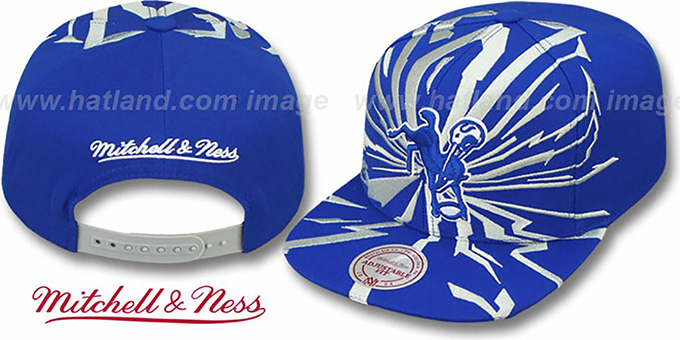 Colts 'EARTHQUAKE SNAPBACK' Royal Hat by Mitchell & Ness : pictured without stickers that these products are shipped with