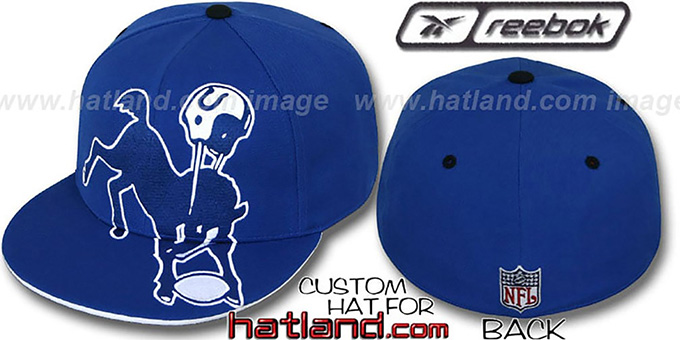 Colts 'INVINCIBLE' Fitted Hat by Reebok - royal : pictured without stickers that these products are shipped with