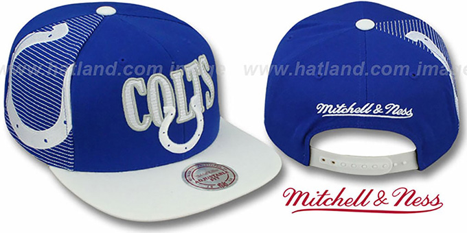 Colts 'LASER-STITCH SNAPBACK' Royal-White Hat by Mitchell & Ness : pictured without stickers that these products are shipped with