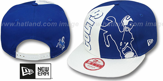 Colts 'NE-NC THROWBACK DOUBLE COVERAGE SNAPBACK' Hat by New Era : pictured without stickers that these products are shipped with