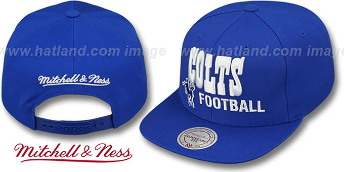 Colts 'NFL-BLOCKER SNAPBACK' Royal Hat by Mitchell & Ness : pictured without stickers that these products are shipped with